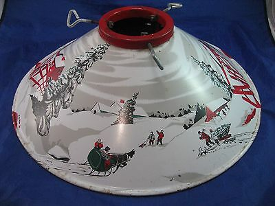 COLORAMC Christmas Tree Stand Base Vintage Tin Metal Litho Winter Scene, 40-50's