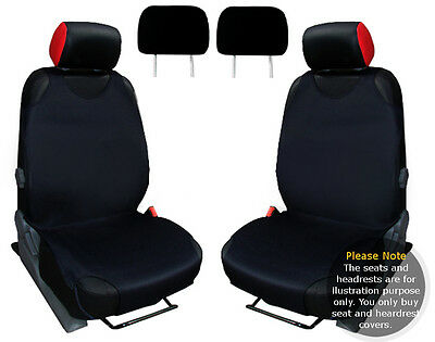 2x T-SHIRT CAR FRONT SEAT COVER PROTECTOR BLACK For Renault Modus