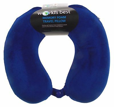 Neck Support Plush Travel Pillow Memory Foam Blue Relaxation Worlds Best Snap
