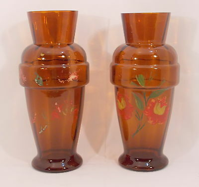 Rare Pair Antique Brown Glass vases Painted Flowers Depression Glass? Hand Blown