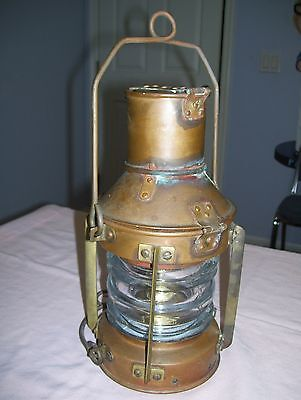 Old Vintage Brass & Copper Oil Lamp Nautical Boat Ship Lantern Light British