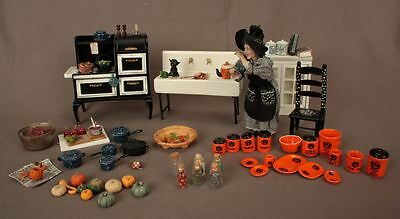 Witch in Her Kitchen Preparing Halloween OOAK Polymer Clay Doll House Furniture