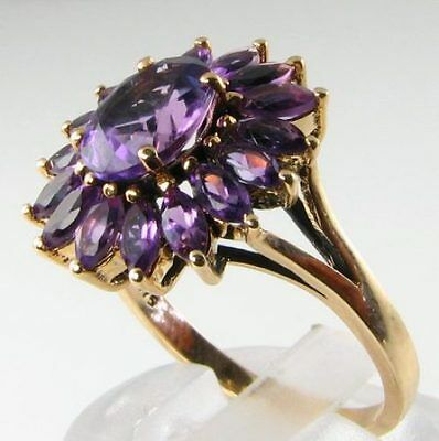 Striking Large 9Ct Gold All Aaa Amethyst Flower Ring Free Resize
