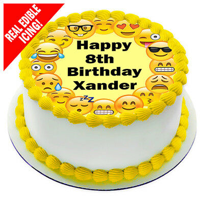 Emoji Edible Icing Image Cake Topper Personalised Birthday Party Decoration
