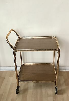Vintage 2 Tier Hostess Tea Drinks Trolley Gold & Formica  Lightweight