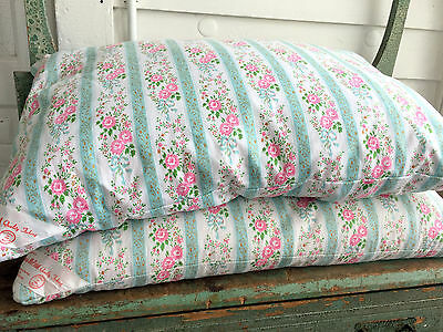 """Vintage Pair Feather Bed Pillow Harris BluPrint Green Pink Floral Ticking 26x17"""""""