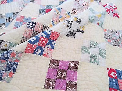 "Antique Quilt 9-Patch Handmade Feed Sack Fabrics 77"" x 85"""