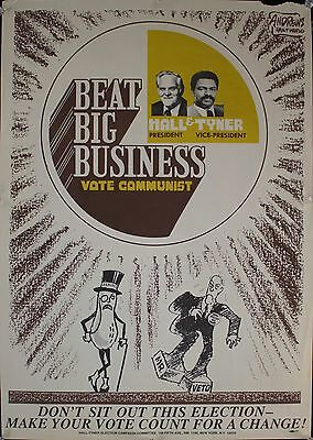 1976 Beat Big Business Communist Party Vote Hall and Tyner Poster Vintage