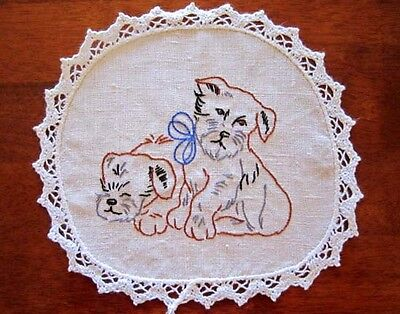Vintage Puppies Hand Embroidered Doily