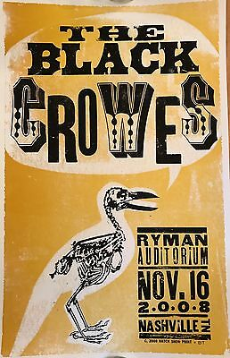 THE BLACK CROWES Hatch Show Print RYMAN Poster NASHVILLE TN 11/16/2008