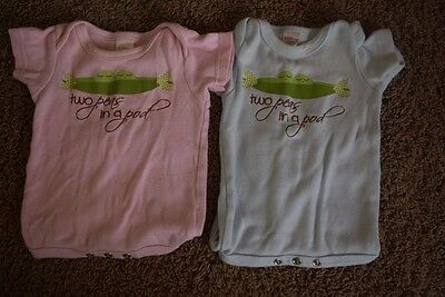 Twin Bodysuit, Boy Girl Twins Size 3-6 months Pink and Blue