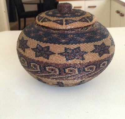 Old African Handmade Basket …beautifully woven Beaded Coil Lid Zulu