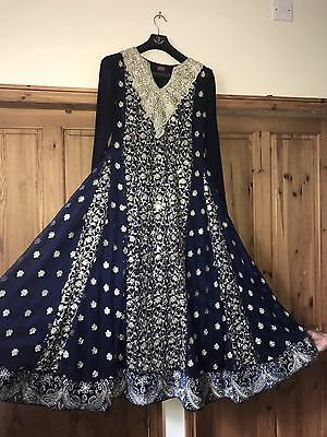 Navy Gold anarkali Wedding Wear Size M