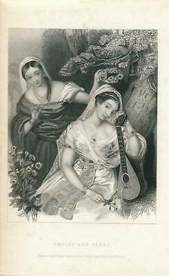 Pretty young women music nature with flowers ca.1850's era Female antique print