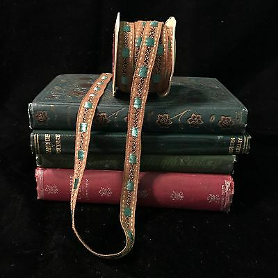 Antique 20s Art Deco Trim Tape Woven Tri Teal Tan Embroidered Spool Unused 4+ yd