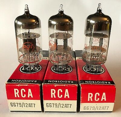 Three NOS RCA 6697 12AT7 ECC81 Valves/Tubes for Fender & other amplifiers
