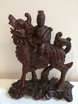 Chinese Wood Carving Warrior on Foo Lion Antique Sculpture