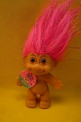 "VINTAGE RUSS TROLL-SPARKLING GOOD LUCK TROLL-Pink Hair-Brown Eyes-3""-Tag"