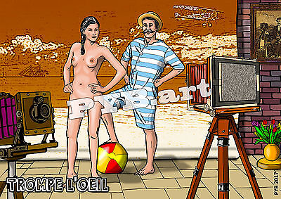 PYB Trompe l'Oeil #1 (nude camera tripod orig. postcard lim. edit. 30 numbered)