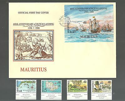 400TH ANNIVERSARY OF DUTCH LANDING IN MAURITIUS FIRST DAY COVER + stamp 1998 MNH