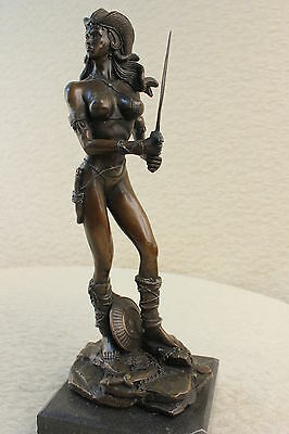 Female Knight Warrior Bronze Statue Marble Signed Sculpture Figurine Art Deco