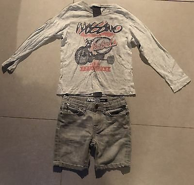 Boys Size 5 Mossimo Jean Shorts & Long Sleeve Tee