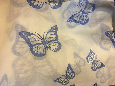 BEAUTIFUL BLUE ON WHITE BUTTERFLY LONG SUMMER SCARF wrap sarong