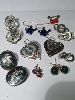 9 PAIRS VINTAGE & FASHION  STERLING SILVER & other EARRINGS