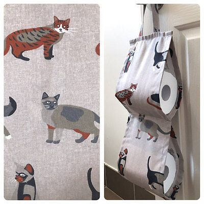 Double Toilet Roll Holder/ Toilet Paper Holder/ Bathroom Storage Cats Brown
