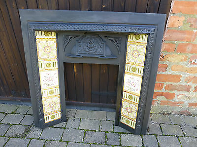 cast iron fireplace with tiles