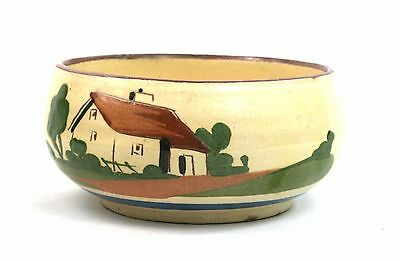 Vintage Devon Ware Footed Bowl No Road Is Long With Good Company