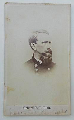 antique General F. P. BLAIR JR CDV civil war photo union 1860's FRANCIS PRESTON
