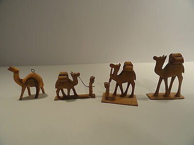 Hand Carved Wooden Camel Figurines