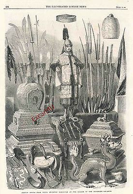 China Chinese Tradition History Culture Weapons Print Engraving c1861