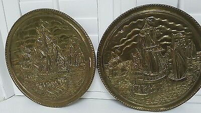 2x vintage brass wall plaques