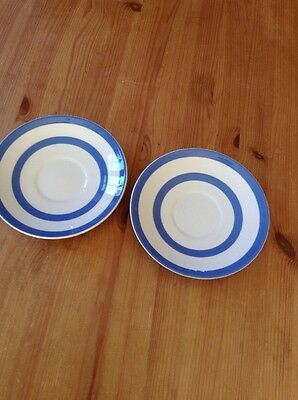 2 Blue Cornishware Saucers Green Shield Stamp Vgc