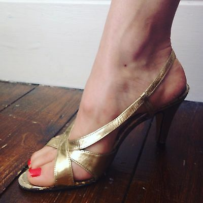 Strappy gold high heels Eur 37 UK 4.5 US 6.5 1970s /Disco /Dirty Dancing