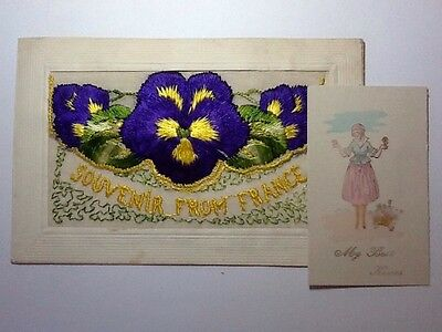 Ww1 Silk Embroidered Postcard - Souvenir From France - Insert