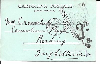 "1905 POSTAL HISTORY ITALY TO READING ""LIABLE TO LETTER RATE 3d TO PAY VERY FINE"