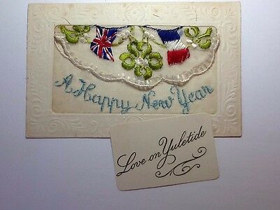 Ww1 Silk Embroidered Postcard - A Happy New Year - Insert