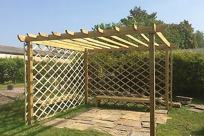 Handmade wooden garden Pergola structure 12ft x 8ft or made to measure. UK Post
