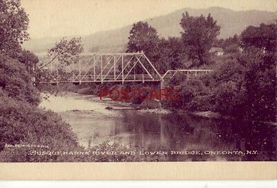 """THE ALBERTYPE CO's """"PLATINO"""" Sample Post Card Prices - LOWER BRIDGE, ONEONTA, NY"""