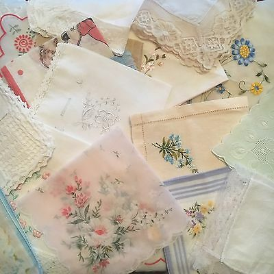Bulk Lot Of 17 Vintage Handkerchiefs Lace Embroidered Prints White Crafts