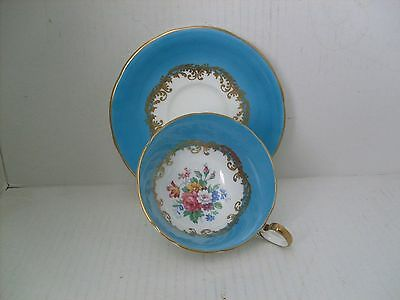 Aynsley Bone China Blue Cup And Saucer.