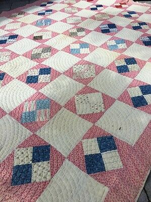 Antique Turkey Red, White & Blue Hand Stitched Quilt Cutter