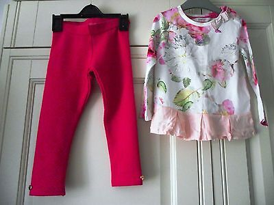 Girls Ted Baker Pink Floral Top & Leggings Outfit - Age 12-18 Months