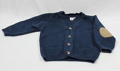 Baby Boys F & F  Knit Button Up Navy Cardigan Size 00 (size 6-9 months)