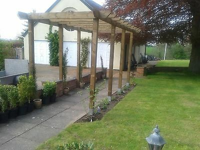 Handmade wooden garden Pergola structure 16ft x 16ft or made to measure. UK Post