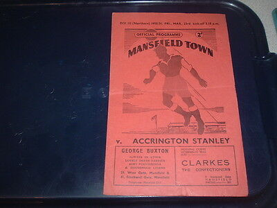 Mansfield Town v Accrington Stanley March 1951