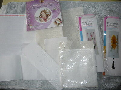 2   Counted Cross Stitch Bookmark Kits, Also Damask Fabric Sachet & Aida Pieces